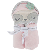 Stephen Joseph, Sloth Hooded Bath Towel for Babies, Cotton, Pink, 29 x 29 inches