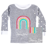New Ewe, Jesus Loves Me, Baby Long Sleeve Pajama Top, Gray and White, 6 Months-24 Months