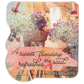 Faithworks, Proverbs 27:9 A Sweet Friendship Refreshes the Soul Shape Magnet, 3 x 3 1/4 inches