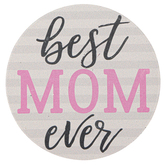 Carson Home Accents, Best Mom Ever Car Coaster, Absorbent Stoneware, 2 3/4 inches