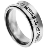 Spirit & Truth, Psalm 23, The Lord is My Shepherd, Men's Spinner Ring, Stainless Steel, Sizes 8-12
