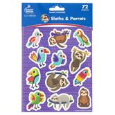 Carson-Dellosa, One World Sloths and Parrots Shape Stickers, Multi-Colored, 72 Stickers