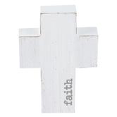 Whitewash Faith Wood Cross, White and Gray, 5 x 3 1/2 x 1 inches