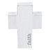 Whitewash Faith Wood Cross, White and Gray, 5 x 3 1/2 x 1 inches