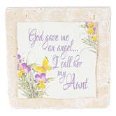 Product Concepts, Angel Aunt Tile Plaque, Natural, 4 x 4 Inches