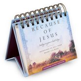 DaySpring, Because of Jesus Devotions Perpetual Calendar, Paper, 5-1/2 x 5-1/4 x 1-1/4 inches