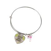Bella Grace, Bless Your Heart Bangle Bracelet, Silver, 2 3/4 inch diameter