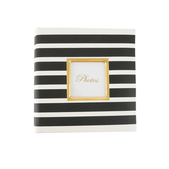 Brother Sister Design Studio, Black and White Striped Photo Album, 160 Photo Slots