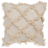 Ivory Diamond Fringe Square Pillow, Polyester and Cotton, 20 x 20 x 7.50 Inches