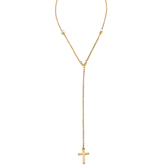 Modern Grace, Psalm 147:3 Lariat with Cross Necklace, Zinc Alloy, Gold, 20 inches