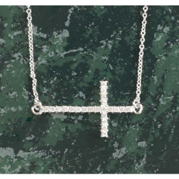 Dicksons, Sideways Large Cubic Zirconia Cross Necklace, Silver Plated, 18 inches