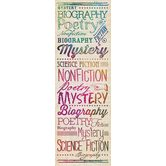 Retro Chic Collection, Literary Genres Bookmarks, 2 x 6 Inches, Multi-Colored, Pack of 36