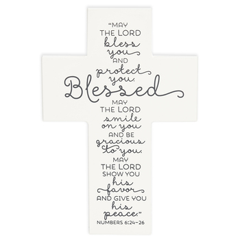 LCP Gifts, Numbers 6:24-26 Blessed Baby Table Cross, MDF Wood, White, 4 1/4 x 6 1/4 inches