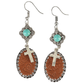 Wildflower Road, Cross and Leather Dangle Earrings, Zinc Alloy and Leather, Antique Silver