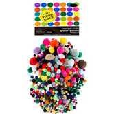 Pom Poms Super Value Pack, 1/2 inch - 2 inches, Multi-colored