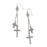 Faithful and Fabulous, Chain with Bling Crosses Dangle Earrings, Zinc Alloy and Glass, Silver