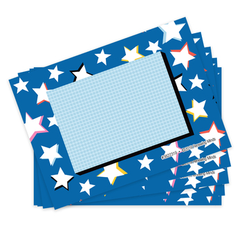 Colorfetti Collection, Self-Adhesive Labels, Stars and Grid, 3.5 x 2.5 Inches, Pack of   36