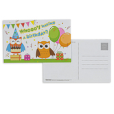 Broadman Church Supplies, Whooos Having A Birthday Owl Postcards, 5 1/2 x 3 1/2 inches, Set of 25