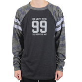 NOTW, He Left The 99 To Rescue Me, Men's Raglan Long Sleeve T-shirt, Gray/Camo, S-2XL