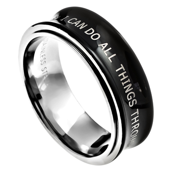 Spirit & Truth, I Can Do All Things, Men's Spinner Ring, Stainless Steel, Black, Size 8