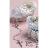 Baby Girl Porcelain Box W/Rosary