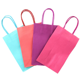 the Paper Studio, Sacks-N-Things Bright Gift Bags, 8 1/2 x 5 1/4 x 3 inches, 3 Each of 4 Colors