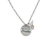 Bella Grace, Believe in Miracles Pendant Necklace, Pewter, 18 inches