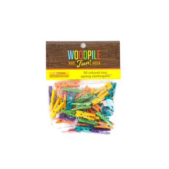 Woodpile Fun, Tiny Spring Clothespins, 1 inch, Assorted Colors, 50 Count