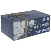 It Is Well With My Soul Stacked Wood Décor, Watercolor Flowers on Navy, 9 1/2 x 4 x 6 inches