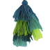 Natural Life, Stacked Mini Tassel Clip, Polyester and Metal, Turquoise, 5 Inches