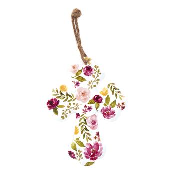 Floral Mini Wall Cross, Metal, 5 1/2 x 4 inches