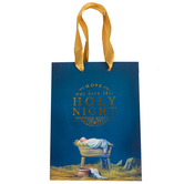 Renewing Faith, Holy Night Baby Jesus Christmas Gift Bag, Blue & Gold, Multiple Sizes Available