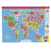 MasterPieces, World Map Jigsaw Puzzle, 60 Pieces, 16 1/2 x 12 3/4 inches