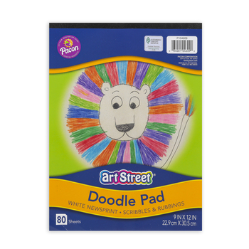 Pacon, Art Street Doodle Pad, 9 x 12 Inches, White Newsprint, 80 Sheets