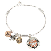 Oori Trading, Tree of Life Bangle Bracelet with Four Charms, Silver Plated, 1 Piece