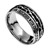 Spirit & Truth, Crown of Thorns, Crucified, Galatians 2:20, Men's Ring, Stainless Steel, Sizes 8-12