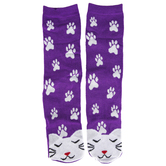 DEI, Cat Face & Paw Print Socks, Purple & White, One Size Fits Most