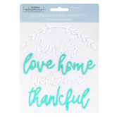 Letterboard Words Family, Love, Home, Plastic, Turquoise and White, 7 Pieces