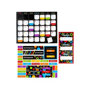 Chalk Talk Collection, Customizable Calendar Bulletin Board Set, Multi-Colored, 112 Pieces