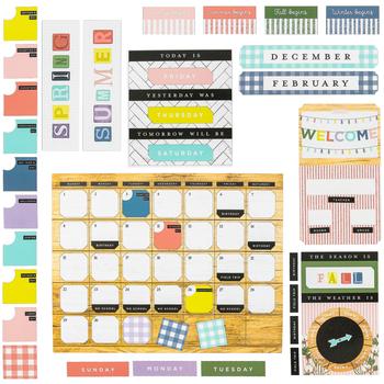 Farmhouse Lane Collection, Customizable Calendar Bulletin Board Set, Multi-Colored, 110 Pieces