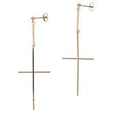 Modern Grace, Psalm 91:1 Cross Dangle Earrings, Zinc Alloy, Rose Gold
