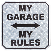 My Garage My Rules Wall Decor, Galvanized Metal, Silver, 12 x 12 inches