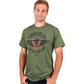 Kerusso, Forged in His Strength, Men's Short Sleeve T-Shirt, Military Green, M-3XL