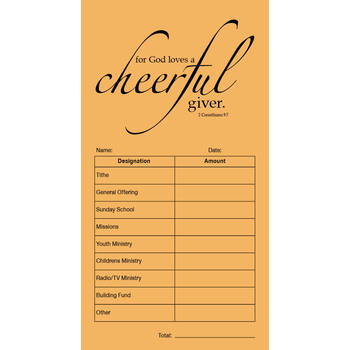 Salt & Light, Cheerful Giver Tithe & Offering Envelope, 3 1/2 x 6 1/2 inches, Beige, Set of 100