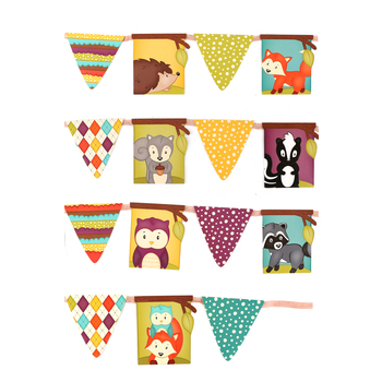 Woodland Tails Collection, Pennant Banner, 8 Designs, 16 Flags, 12 Feet