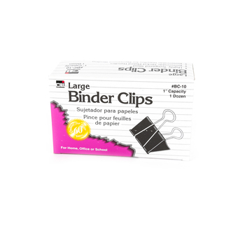 Charles Leonard, Binder Clips, Large, 12 Ct