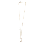His Truly, Abalone Leaf Pendant Necklace, Zinc Alloy, Gold, 28 Inch Chain