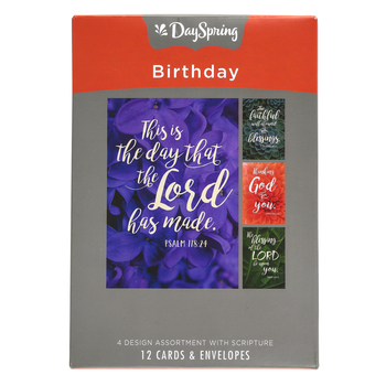 DaySpring, Succulent Plant Photo Birthday Boxed Cards, 12 Cards with Envelopes