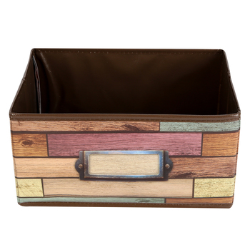Teacher Created Resources, Reclaimed Wood Small Storage Bin, Brown, 8 x 11 x 5 inches