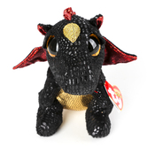 Ty, Beanie Boos, Grindal Dragon Plush, Black & Red, 6 inches